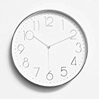 """Foxtop 12"""" Silent Non-ticking Universal Quartz Movement Wall Clock-Large Indoor Outdoor Wall Clocks- Plastic Frame Glass Cover (Silver Arabic Numeral)"""