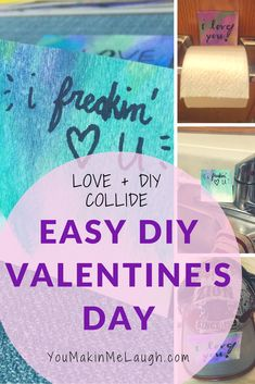 Fun last minute ideas for valentines day for him and her. Watercolor and hand lettering combined for a cute and simple craft #affiliate #funny #surprise #love #art