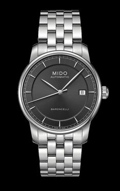 Mido Men's Baroncelli II black dial with stainless steel band style #: M8600.4.13.1 http://www.midowatch.com/en/content/m86004131