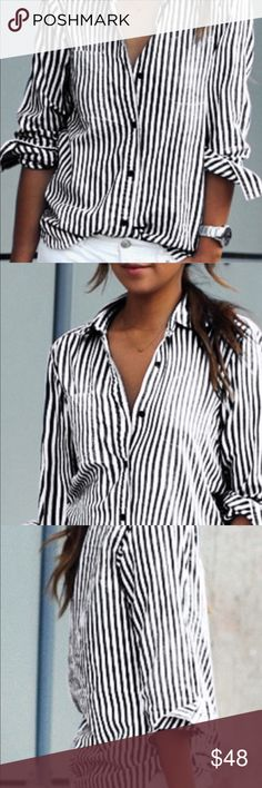 Striped button down shirt Black and white striped button down shirt. IN STOCK NOW Piece's Tops Button Down Shirts