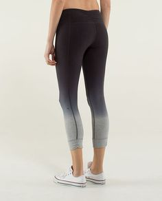 Lululemon Live Natural Crop heathered medium grey/soot  need new work-out pants...either black or a wild print, otherwise if it's just a full light colored pant you can see sweat through it