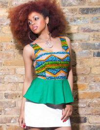 green, white skirt, peplum, african print, wax print, ankara,natural hair, afro, black girls, zanjoo,