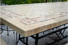 Tiled patio table tile top patio table pinterest patio table 160 200 240cm italian mosaic marble outdoor patio table wrought iron tuscany watchthetrailerfo