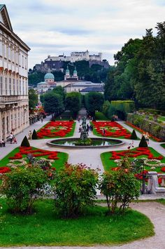 Mirabell palace and gardens with Hohensalzburg castle in the background in Salzburg, Austria Places Around The World, Oh The Places You'll Go, Travel Around The World, Places To Travel, Places To Visit, Around The Worlds, Wonderful Places, Beautiful Places, European Travel