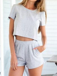 Crop Top with High Waist Shorts in Grey are casual sexy and perfect to wear on the weekend to the beach. Summer sexy outfit free shipping free returns!