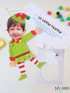 The goblin puppet for printing and design - kids - noel Preschool Christmas, Christmas Activities, Christmas Crafts For Kids, Christmas Elf, Winter Christmas, Holiday Crafts, Christmas Cards, Christmas Decorations, Christmas Ornaments With Pictures