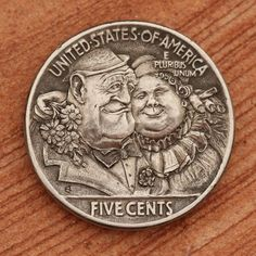 The hobo nickel is a sculptural art form involving the creative modification of small-denomination coins, essentially resulting in miniat. Old Coins, Rare Coins, Engraving Art, Hobo Nickel, Coin Art, Old Money, Coin Collecting, Sculpture Art, Mini