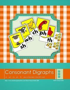 Beginning consonant digraph posters and flip cards. sh, wh, th, ch, ph,  $