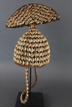 Africa | Lega hat decorated with cowrie shells. | Mid 20th century. African Crown, African Hats, Afrique Art, Shell Game, Tribal Costume, Majestic Animals, Circlet, Love Hat, Color Stories