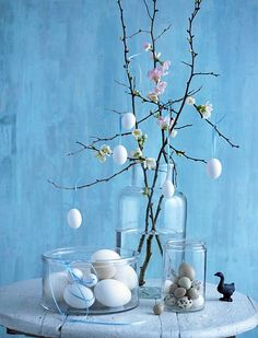 Beautiful cherry blossom and egg ornaments craft  Gorgeous tea table feature.
