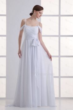 Chiffon scoop kolonne gulv længde vinduesramme brudekjole - Focus Vogue