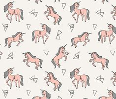 Unicorn Love - Pale Pink by Andrea Lauren fabric by andrea_lauren on Spoonflower - custom fabric