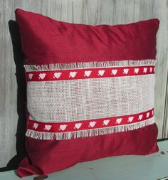 Valentine's Day Pillow, Valentine's Day Décor, Heart Pillow, Red Satin Pillow, Throw Pillow, Accent Pillow by SilvaLiningDesigns on Etsy