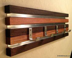 "Coat Rack 4 Hook Wood & Metal Modern Key Hat 22"" Wall Hanging Clear and…"