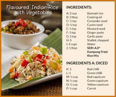 [AJI RECIPE] This Flavoured Indian Rice is packed full of with different spices, enhanced with the SERI-AJI® Kampung Fried Rice Mix for delicious flavours in every mouth full. Click here for full recipe: http://on.fb.me/1NvNChX