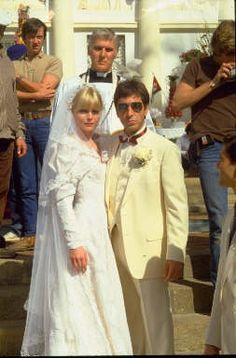 Michelle Pfeiffer and Al Pacino in Scarface directed by Brian De Palma, 1983 Movie Wedding Dresses, Wedding Dress Costume, Wedding Movies, Wedding Scene, Lace Wedding, Iconic Movies, Good Movies, Amazing Movies, Classic Movies