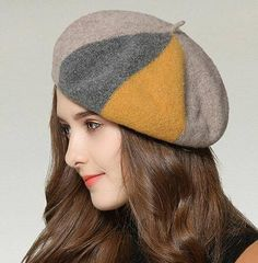 73ca38a15052c Color block beret hat for women British style wool hats autumn wear