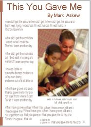This You Gave To Me -  A Printable Family Reunion Poem  -  When I did not believe I could keep going, where did I get the assurance   that if I did not give up give out   or give in I would succeed?  This you gave me.    When I felt an overwhelming failure  Where did I get the confidence  that I had what I needed to shape  bend and grow into what I have   become and yet will be?   This you gave me.    When I was worn out...