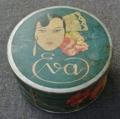 """VINTAGE """"EVA"""" POWDER BOX"""