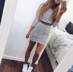 Striped crop top and skirt with all White superstars