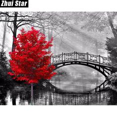 5D DIY Diamond Painting. Red Maple Tree Grayscale Bridge. Square drill, 5 kit sizes available.
