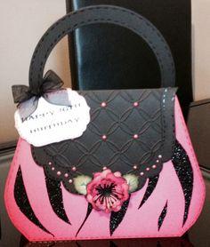 Pink and black handbag card