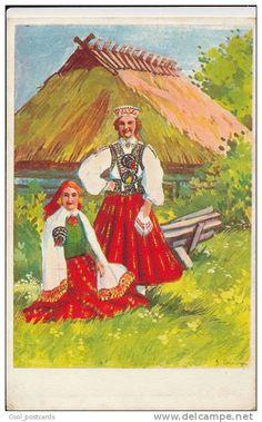 Latvian postcard - Girls in Nīca folk costumes, 1938.
