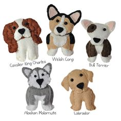 This PDF file is to make five cute dogs as shown in the main photo. You will receive a PDF file with illustrated instructions and patterns needed to make your own cute companions. There are five patterns in this set. The Patterns are in PDF format.  Set one includes patterns to make -- Bull dog, Labrador, Cavalier king charles spaniel, Alaskan Malamute, welsh corgi  The dogs measure between 60mm - 80mm in height (depending on the dog)  Let your imagination go wild.... Essentially, the…