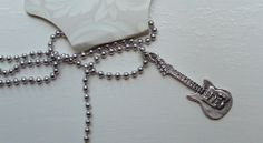 Electric Guitar Charm Necklace silver pewter by earringsbysusan