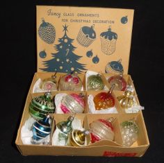 Glass Figural Feather Tree Christmas Ornaments 1930's-40's Japan Czech