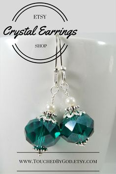 #Earrings #Jewelry #Handcrafted - #Crystal #Glass #Faceted #Cadium #Green #Gift for Her - For ladies who want jewelry that's as fabulous as they are, Touched By God's jewelry is a fresh alternative to generic, mass made pieces. Timeless and classic, these earrings are an all around everyday staple that will make an excellent gift idea for any of the wonderful women in your life! Visit my Etsy Shop at www.TouchedByGod.etsy.com!