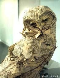 Wise owl use papier mache and newspaper to make this for Diy paper mache owl