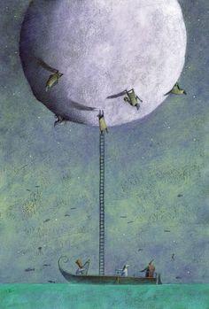 Il·lustracions de Gianni de Conno: lirisme entre la realitat i els somnis Moon Painting, Painting & Drawing, Night Illustration, Weird World, Illustrations And Posters, Art Portfolio, Illustrators, Fantasy Art, Art Drawings