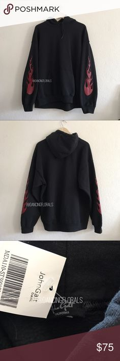 f52f66bc53 Brandy Melville Christy flames black hoodie Soft hoodie in white with red  flame graphics on arms