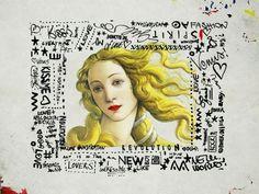 """Printemps"" wall paper - pop art inspirada em detalhe da tela ""The Birth of Vênus"" de Sandro Botticelli"