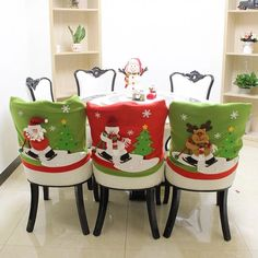 Chair Cover Dinner Dining Table Santa Claus Snowman Ornament Chair Back Covers Christmas Decor Table New Year Supplies Christmas Decorations Dinner Table, Dinner Party Table, Dinner Chairs, Xmas Dinner, Chair Back Covers, Chair Backs, Long Chair, Christmas Chair Covers, Christmas Cover