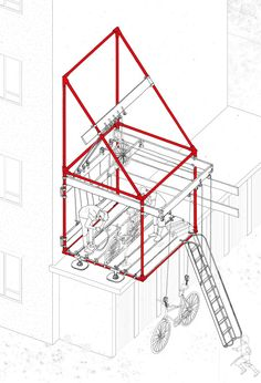 'Hydro Hydraulic Habitation' - mixed-use high density housing - future flood risk response - Oliver Parkinson, Year 3 - Bartlett Living Laboratory - 2016 Bartlett School Of Architecture, Architecture Student, Architecture Design, Architecture Diagrams, Architecture Portfolio, Architecture Graphics, Architecture Drawings, Axonometric Drawing, 3d Modelle