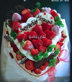 Heart Shaped Strawberry Birthday Cake