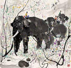 Wu guanzhong - pintura china moderna pintura y artistas art Art And Illustration, Elephant Illustration, Japan Painting, Ink Painting, Painting Prints, Painting Gallery, Art Gallery, Wu Guanzhong, Deco Paris