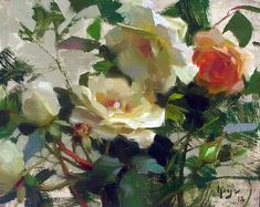 """""""White Roses"""" ©DANIEL J. KEYS SOLD ©Daniel J. Keys 2012 ©This image is under strict copyright to the artist and may not be reproduced in any form Painting Still Life, Still Life Art, Paintings I Love, Floral Paintings, Daniel J, Daniel Keys, Gravure Illustration, Rose Sketch, Still Life Flowers"""
