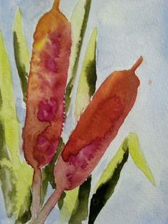 Abstract cat tails original watercolor painting #Abstract