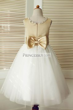 Champagne Satin Ivory Tulle Wedding Flower Girl Dress with Beaded Neckline