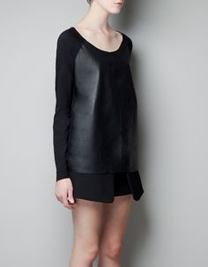 FAUX LEATHER T-SHIRT - Woman - New this week - ZARA United States