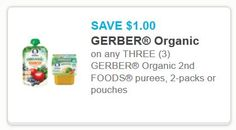 3 Gerber Organic 2nd Foods purees Coupon Off $1.00