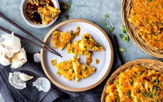 These savory Korean pancakes have crispy edges and a moist interior full of crunchy vegetables and tender bits of shrimp. The kimchi flavor is subtle, so even kimchi haters should like these. Asian Recipes, Healthy Recipes, Ethnic Recipes, Healthy Foods, Healthy Lunches, Diet Foods, Healthy Dinners, Lunch Recipes, Breakfast Recipes