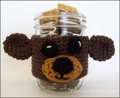 crochet bear on mason jar   yarn ovations
