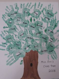 hand tree.. for start of school year. Could put classroom agreement or mission on the trunk and the hands represent that we're working towards it?