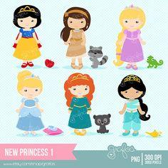 NEW PRINCESS 1  Digital Clipart ,  Princess Clipart, Princess Clip Art  / Instant Download