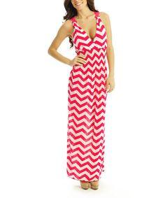 Look what I found on #zulily! Red & White Zigzag Shirred Surplice Maxi Dress by SUE & KRIS #zulilyfinds