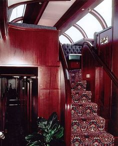 Private Railroad Car Interiors | private rail car bella vista interiors- like the massive amount of natural light above and two stories.